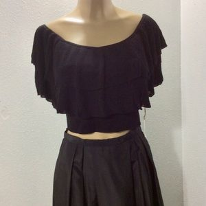 Leith ruffled knit crop top
